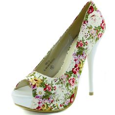 Save 10% + Free Shipping Offer * | Coupon Code: Pinterest10 Material: Man Made Material. Brand: Modesta Heel Height: 5 inches Heel, 1.5 inches platform (Approx) Product Code: Abby-04 White Color Style Runs Big Peep toe opening, floral canvas prints, lightly padded for comfort. This is a must have! They are affordable and totally adorable! Pair this with your favorite skinny jeans! Women's Damita K Abby-04 White Floral Peep Toe Pumps