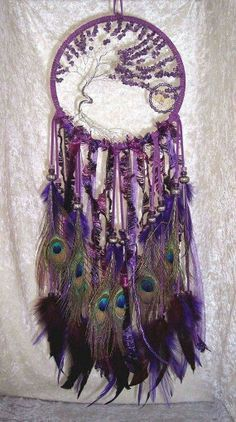 Amethyst Tree Of Life Peacock Feather Dreamcatcher Purple Love, All Things Purple, Shades Of Purple, Dreams Catcher, Sun Catcher, Boho Lifestyle, Los Dreamcatchers, Tree Of Life, Wind Chimes
