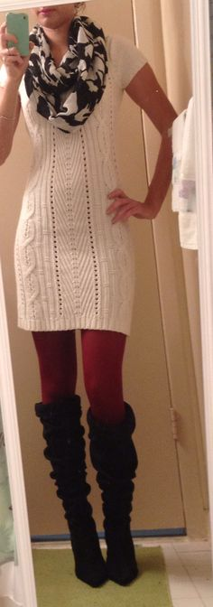 Fall/Winter outfit. Black and white scarf (Target), white Sweater Dress (JC Penney), Dark Red or Burgundy tights (Target) and Black Suede Boots (JC Penney)