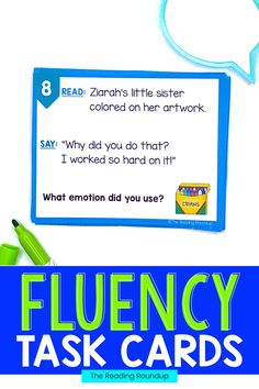 Reading fluency activities are meant to be fun! Students can use these task cards to practice expressive reading to match how the character is feeling. They will have so much fun practicing reading with expression that they won't realize they're improving their reading comprehension at the same time! The corresponding printable emotions charts can be used as an anchor chart during small groups Reading Fluency Activities, Teaching Reading Strategies, Fluency Practice, Reading Resources, Reading Comprehension, Third Grade Reading, Student Reading, Second Grade, Emotion Words