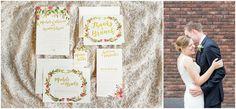 Gold, Marsala Floral Wedding Invitation Suite | Nashville Brunch Wedding - Salt & Paperie