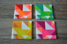 Items similar to Grain Fuse / Perler Beads Neon Geometric Coaster - Set of 4 - Housewarming Gift on Etsy - Fuse grain / Perler neon beads coaster by - Melt Beads Patterns, Easy Perler Bead Patterns, Perler Bead Templates, Pearler Bead Patterns, Beading Patterns, Hama Beads Coasters, Diy Perler Beads, Perler Bead Art, Perler Coasters