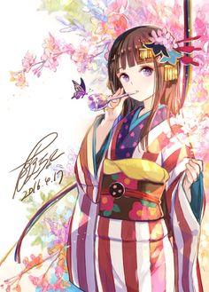 Anime Girl Kimono, Anime Girl Cute, Beautiful Anime Girl, Kawaii Anime Girl, Anime Art Girl, Manga Girl, Anime Girls, Manga Anime, All Anime
