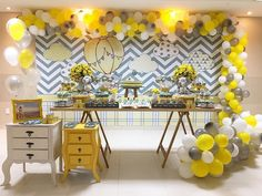 Yellow Gray And White Party Decorations Décoration Baby Shower, Baby Shower Clipart, Baby Shower Yellow, Baby Yellow, Yellow Party Decorations, Girl Baby Shower Decorations, Baby Decor, Baby Shower Themes, Birthday Decorations