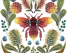 This project was inspired by indigenous flora and fauna in Australia. It includes the monarch butterfly, the Waratah, silver dollar eucalyptus leaves, banksia and a bee native to Australia that does not have a sting! Australian Native Flowers, Felt Pictures, Eucalyptus Leaves, Monarch Butterfly, Flora And Fauna, Silver Dollar, New Shop, Natural World, Flower Art