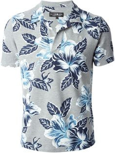 Hydrogen Camisa Polo Floral. Stylized Hybiscus pattern on light gray. More Men's Fashion Trends, Polo Shirts and trending outfits @ www.pinterest.com/rickysturn/mens-fashion