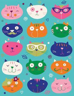 Crazy Cat Lady, Crazy Cats, Cat Template, Cute Cats Photos, Cat Colors, Cat Pattern, Cat Drawing, Cat Design, Cat Art