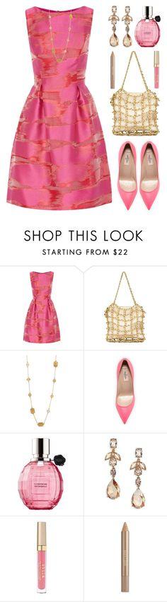 """Pink Satin Dress"" by lgb321 ❤ liked on Polyvore featuring Lela Rose, Chanel, Kate Spade, Valentino, Viktor & Rolf, Oscar de la Renta, Stila and Estée Lauder"