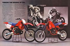 1986 Honda CR125R, CR250R Dirt Bikes. Original Honda Motorcycle Ad.