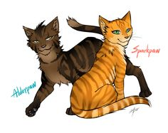 Warriors: Alderpaw and Sparkpaw -SPOILER- by Marshcold.deviantart.com on @DeviantArt