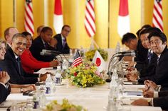 U.S. Ambassador to Japan Caroline Kennedy (2nd L) sits next to U.S. President Barack Obama (3rd L) as they meet with Japan's Prime Minister Shinzo Abe (R) at the Akasaka Palace in Tokyo April 24, 2014.-WSJ.com