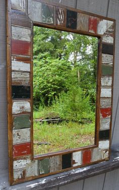 Shop for mirror on Etsy, the place to express your creativity through the buying and selling of handmade and vintage goods. Farmhouse Mirrors, Rustic Mirrors, Wood Framed Mirror, Mirror Art, Pallet Picture Frames, Reclaimed Wood Projects, Diy Door, Colorful Furniture, Mosaic Glass