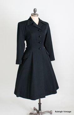 Vinage 1940s 50s New Look Wool Gabardine Princess Coat via Etsy.