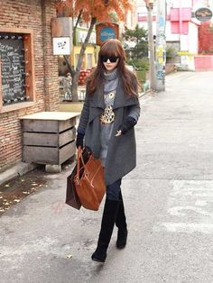 Lady's Wool Pure Color Wide Lapel Trench Coat Gray  US$24.99(55% OFF)