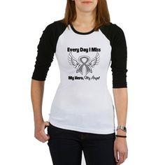 Brain Cancer Miss My Hero Jr. Raglan T-Shirt  with angel wings by www.hopeawarenessribbons.com #braincancer #braincancerawareness #braincancershirts