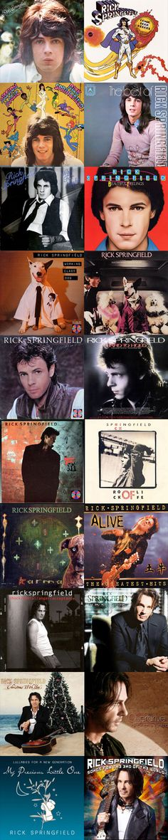 Rick Springfield Album Covers ...AH!! My glory days of youth spent playing all these albums. OH!! How I LOVED Rick Springfield!!!! Still DO!!