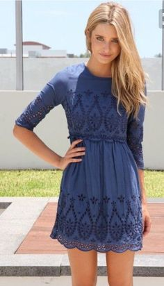 Love this blue 3/4 sleeve dress with cut out detail. Would look great with boots! Stitch fix fall 2016
