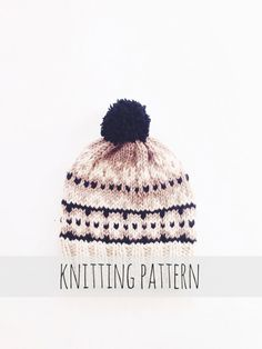 Aspen Toboggan by Two of Wands // Knitting Pattern for Pompom Winter Ski Fair Isle Patterned Alpine Beanie Cap Hat