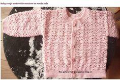 Roze babyvestje. http://www.jessica-tromp.nl/haakpatronen/roze%20baby%20vestje%20haakpatronen%20haakpatroon%20babyvest.htm