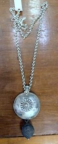 vintage ethnic tribal old silver pendant chain necklace antique jewelry -112