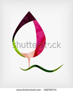 Flat Design Abstract Leaf Shape Concept. Nature template - stock photo