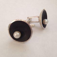 Heidi Abrahamson Sterling & pearl cuff links.