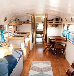 30 Beautiful Picture of School Bus RV Conversion Homes. If you perform a bus conversion all on your own, it's known as a non-professional bus conversion. Many bus conversions cover most of the windows to he. Tiny House Plans, Tiny House On Wheels, House Floor Plans, Bus Living, Tiny House Living, Living Room, School Bus Rv Conversion, Camper Conversion, School Bus Tiny House