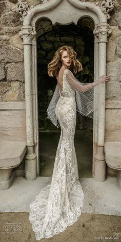 netta benshabu 2017 bridal long angle sleeves neck full embellishment elegant sheath wedding dress open v back sweep train (10) bv -- Netta BenShabu 2017 Wedding Dresses