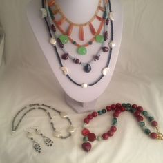 New necklaces! Statement red necklace and fancy gemstone necklaces