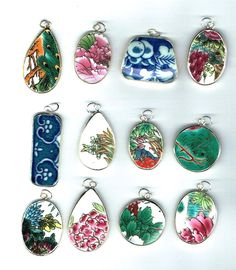 Lot of 12 Wholesale Pottery Ming Chinese Shard Pendants Lot 2 - pinned by pin4etsy.com
