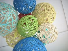DIY Yarn Balls Chandelier for bedroom decorating