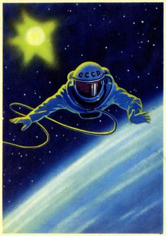 On a 1966 Soviet postcard, a self-portrait by cosmonaut Alexei Leonov recalls the day he became the first human to walk in space, March 18, 1965.