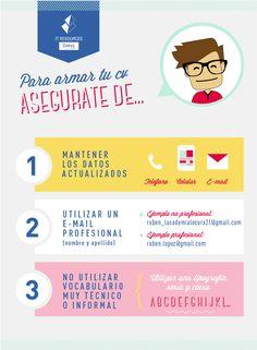Puntos a tener en cuenta para armar tu CV. #RRHH #RecursosHumanos #Infografía…