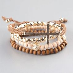 FULL TILT 4 Piece Cross Wood Bead Bracelets