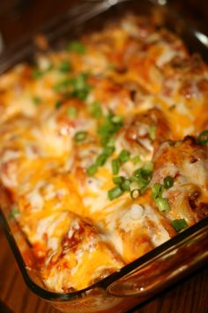 Mexican Stuffed Shells -- ground beef, taco seasoning, cream cheese, jumbo pasta shells, salsa, taco sauce, cheddar cheese, Monterrey jack cheese. Garnish with ripe olives, green onions, sour cream, more salsa, etc.