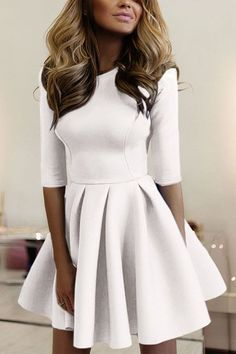Casual Round Neck Mini Dress in White - US$21.95 -YOINS