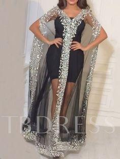 See-Through Floor-Length Short Sleeve Sequins V-Neck Women's Dress Women Church Suits, Prom Dresses, Formal Dresses, Batwing Sleeve, See Through, Elegant, Types Of Sleeves, Long Dresser, Mode Online Shop