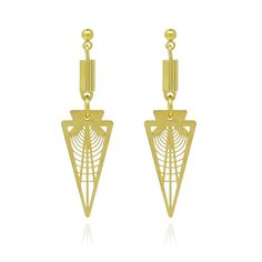 Comfort Station Gold Radar Points: Sleek, geometric earrings featuring art-deco inspired filligree points; wear these by day or by night for a modern structured look.