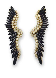 (via A PAIR OF ONYX AND DIAMOND EAR PENDANTS | Jewelry Auction | earrings, diamond | Christie's)