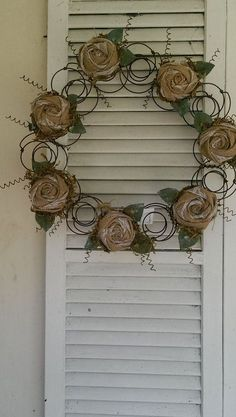Items similar to Bed Spring Wreath Repurposed Bed Springs Burlap Roses Rustic Metal Wreath Handcrafted on Etsy Bed Spring Crafts, Spring Projects, Rusty Bed Springs, Burlap Roses, Mattress Springs, Craft Show Ideas, Repurposed Items, Nail Swag, Wire Crafts