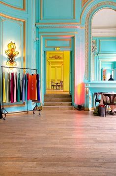 tiffany blue walls / grand space / studio....I'm thinking of painting my home office tiffany blue :-)