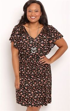 Deb Shops Plus Size Ditzy Floral Print A-Line Dress with Lace Neckline $40.00