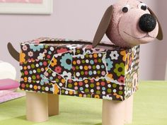 Cute Pet DIY ideas for National Dog Day, like this Mod Podge kids tissue holder!