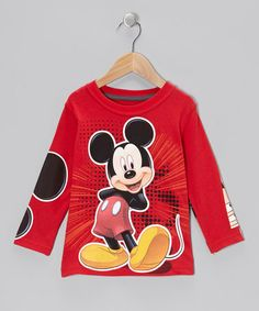 Take a look at this Red Mickey Mouse Layered Tee - Toddler by Disney on #zulily today! $12 !!