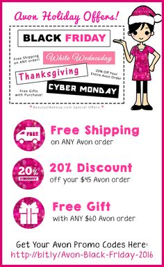 Avon Black Friday / Avon Cyber Monday Deals 2016!  Free Shipping on ANY Order, 20% Off Your Entire Order & More! Check it out! via @beauty2makeup