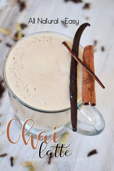 An easy homemade chai tea latte with real food ingredients! This latte is so amazing and contains only healthy, natural ingredients. Easy Chai Tea Latte Recipe, Homemade Chai Tea, Drinks Alcohol Recipes, Yummy Drinks, Drink Recipes, Real Food Recipes, Snack Recipes, Delicious Recipes, Easy Recipes
