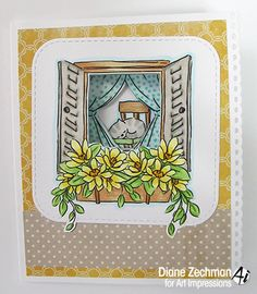 Art Impressions Rubber Stamps: Ai Windows: Mini TryFolds: Garden Window ...handmade cat card.