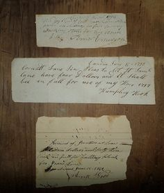 Set of Three 18th and 19th Century Receipts by plantdeva on Etsy - SOLD!
