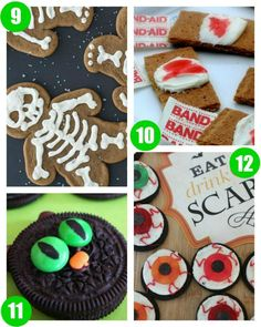Halloween Food Crafts for Kids on Frugal Coupon Living. Classroom Snack Ideas, spooky food for kids, and October snack ideas.  GingerDEAD Skeleton Cookies, Bloody Band Aid Cookies, Black OREO Cats and OREO Eyeballs