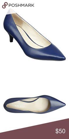 Nine West navy pump New in box. Low heel. Leather upper. Classy navy blue. Nine West Shoes Heels